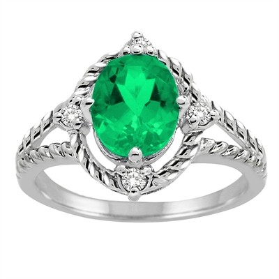 Lab Created Emerald and Diamond Ring in 10K Gold