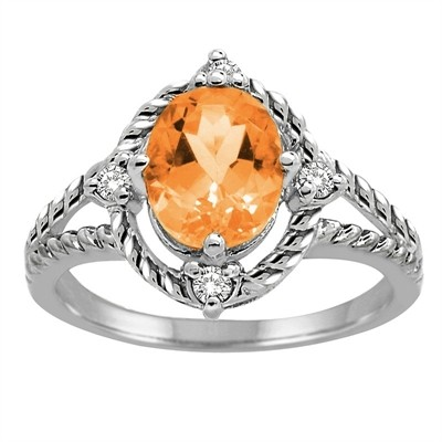 Citrine and Diamond Ring in 10K Gold