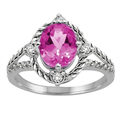 Pink Topaz and Diamond Ring in 10K Gold