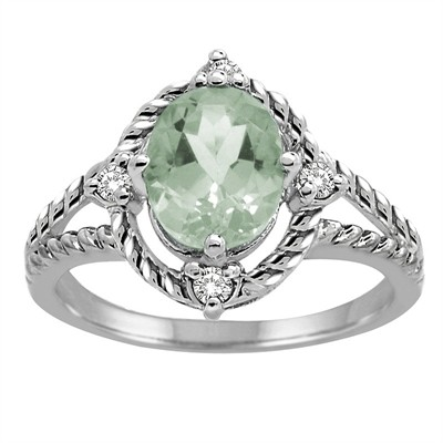Green Amethyst and Diamond Ring in 10K Gold
