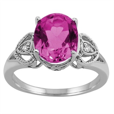 Oval Pink Topaz and Diamond Ring in 10K Gold