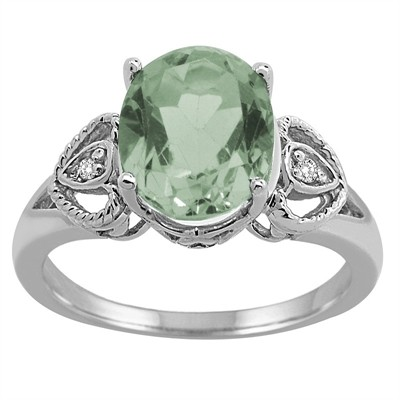 Oval Green Amethyst and Diamond Ring in 10K Gold