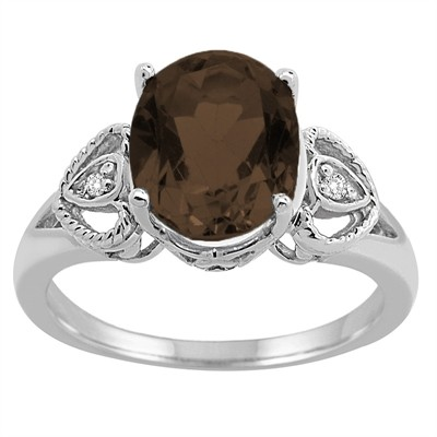 Oval Smokey Quartz and Diamond Ring in 10K Gold