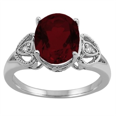 Oval Garnet and Diamond Ring in 10K Gold