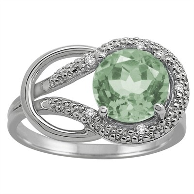 Green Amethyst and Diamond Love Knot Ring in 10K Gold