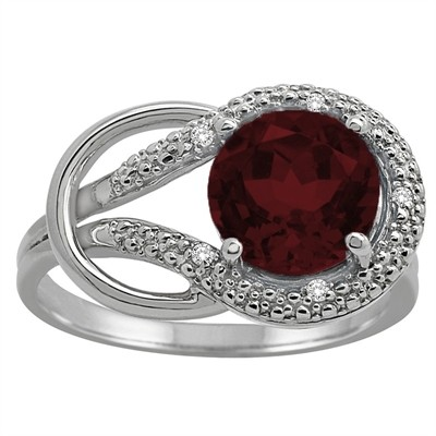 Garnet and Diamond Love Knot Ring in 10K Gold