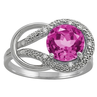 Pink Topaz and Diamond Love Knot Ring in 10K Gold