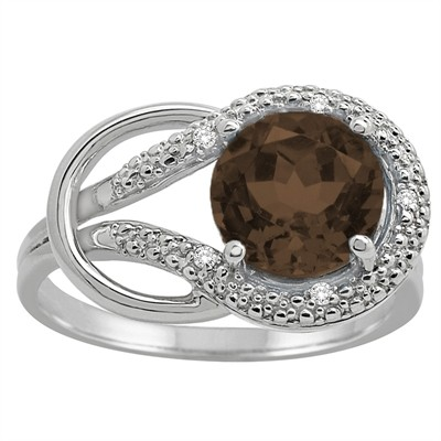 Smokey Quartz and Diamond Love Knot Ring in 10K Gold