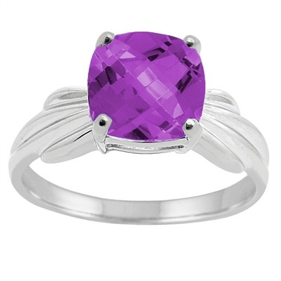 Cushion Cut Amethyst Ring in 10K Gold