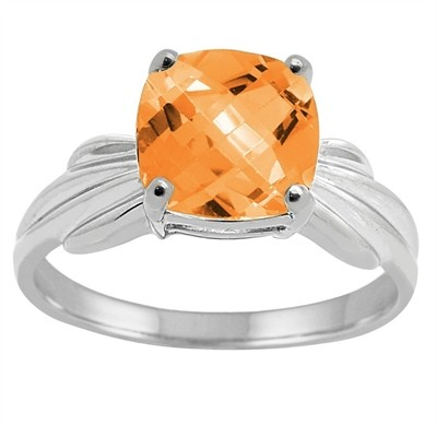 Cushion Cut Citrine Ring in 10K Gold