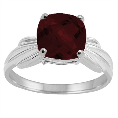 Cushion Cut Garnet Ring in 10K Gold