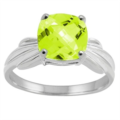 Cushion Cut Peridot Ring in 10K Gold