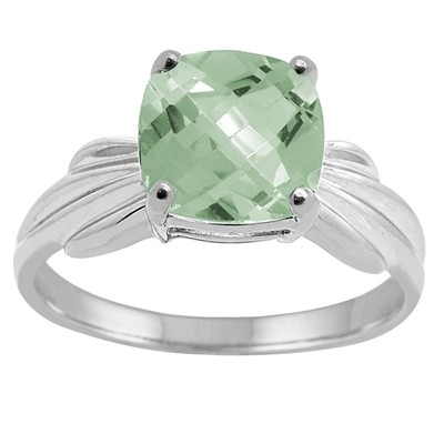 Cushion Cut Green Amethyst Ring in 10K Gold