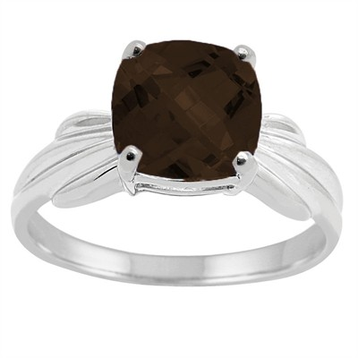 Cushion Cut Smokey Quartz Ring in 10K Gold