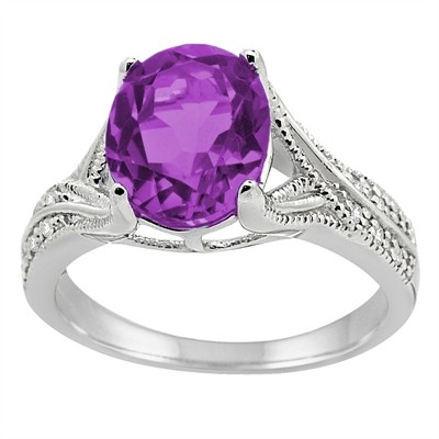 Oval Cut Amethyst and Diamond Antique Ring in 10K Gold