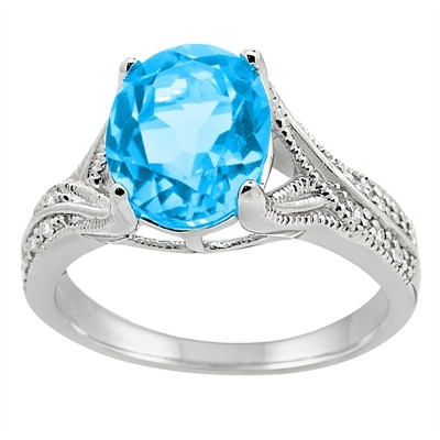 Oval Cut Blue Topaz and Diamond Antique Ring in 10K Gold