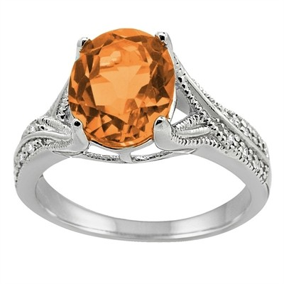 Oval Cut Citrine and Diamond Antique Ring in 10K Gold