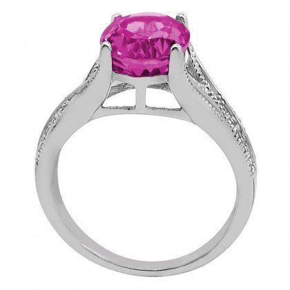 Oval Cut Pink Topaz and Diamond Antique Ring in 10K Gold
