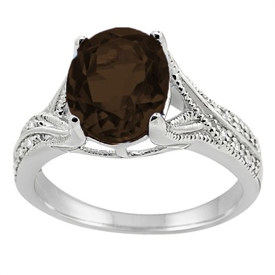 Oval Cut Smokey Quartz and Diamond Antique Ring in 10K Gold