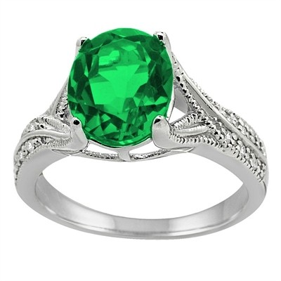 Oval Cut Lab Created Emerald and Diamond Antique Ring in 10K Gold