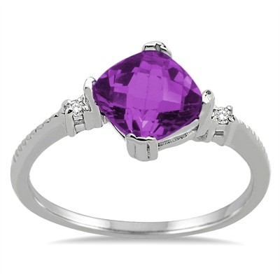 Cushion Cut Amethyst and Diamond Ring in 10K Gold