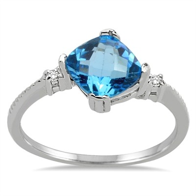 Cushion Cut Blue Topaz and Diamond Ring in 10K Gold