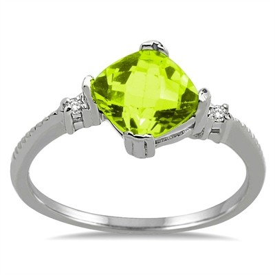 Cushion Cut Peridot and Diamond Ring in 10K Gold