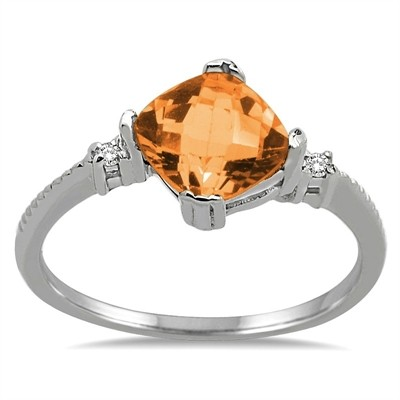 Cushion Cut Citrine and Diamond Ring in 10K Gold