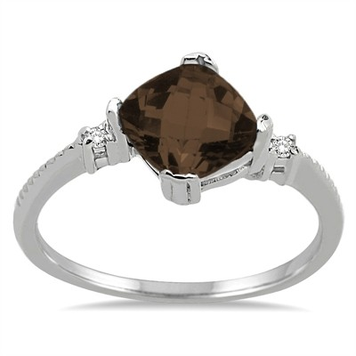 Cushion Cut Smokey Quartz and Diamond Ring in 10K Gold