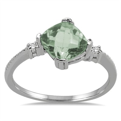 Cushion Cut Green Amethyst and Diamond Ring in 10K Gold