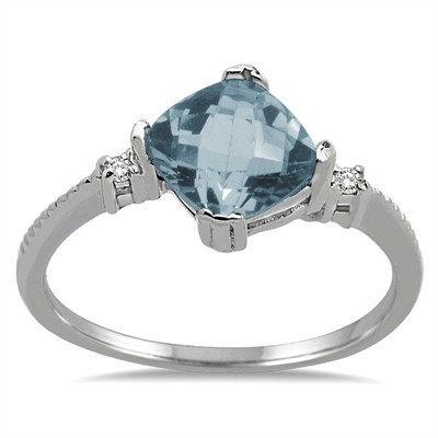 Cushion Cut Aquamarine and Diamond Ring in 10K Gold