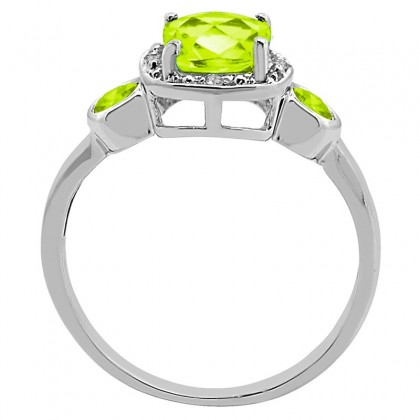 Cushion Cut Peridot and Diamond Ring in 10K Gold