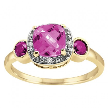 Cushion Cut Pink Topaz and Diamond Ring in 10K Gold
