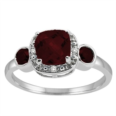 Cushion Cut Garnet and Diamond Ring in 10K Gold