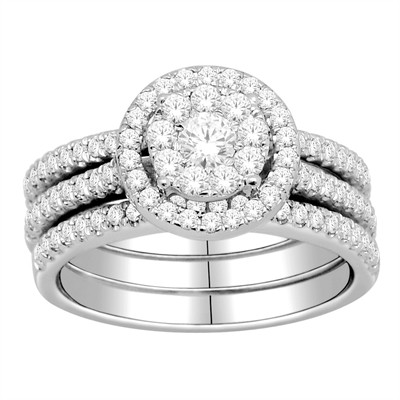 10k Gold 1ct TDW Diamond Halo Bridal Ring Set (H-I, I2-I3)