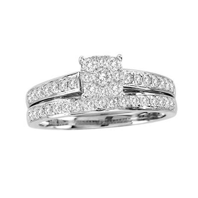 10k White Gold 3/4ct TDW Diamond Bridal Ring Set (H-I, I2)