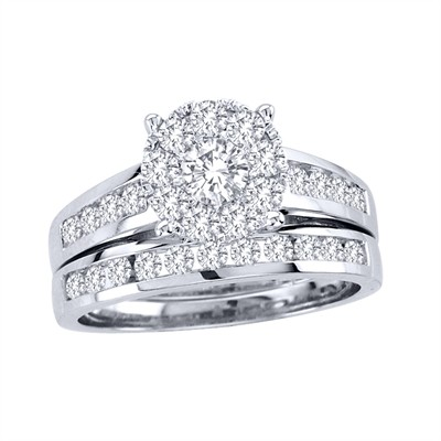 10k White Gold 1 1/2ct TDW Diamond Bridal Ring Set (H-I, I2)