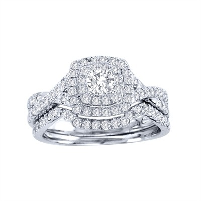 10k White Gold 7/8ct TDW Diamond Halo Bridal Ring Set (H-I, I1-I2)