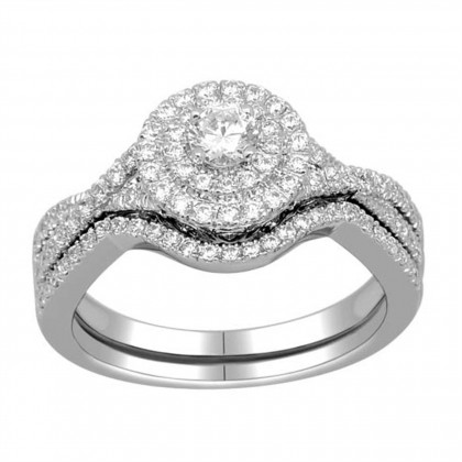10k Gold 3/4ct TDW Diamond Halo Bridal Ring Set (H-I, I2)