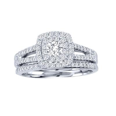 10k White Gold 3/4ct TDW Diamond Halo Bridal Ring Set (H-I, I2)