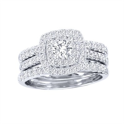 10k White Gold 1 1/2ct TDW Diamond Halo Bridal Ring Set (H-I, I2)