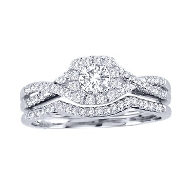 10k White Gold 3/4ct TDW Diamond Halo Bridal Ring Set (H-I, I2)