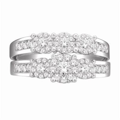 10k White Gold 1ct TDW Diamond Bridal Ring Set (H-I, I2)
