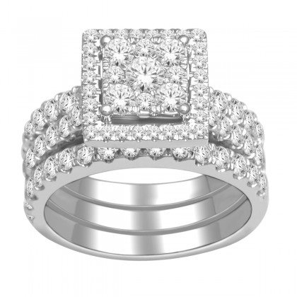 10k Gold 2ct TDW Diamond Halo Bridal Ring Set (H-I, I2)