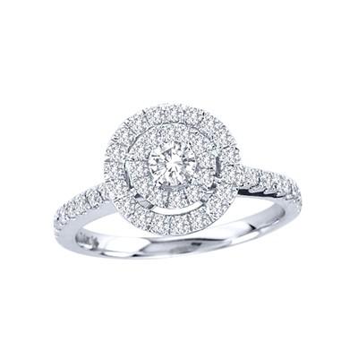 14k Gold 3/4ct TDW Diamond Halo Engagement Ring (H-I, I2)