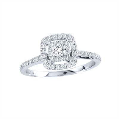 14k Gold 1/2ct TDW Diamond Halo Engagement Ring (H-I, I2)
