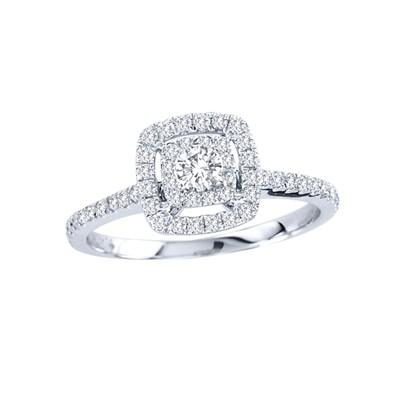 14k Gold 1/2ct TDW Diamond Halo Engagement Ring (H-I, I2)