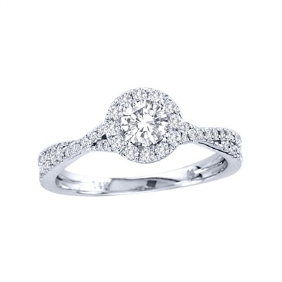 14k Gold 3/4ct TDW Diamond Halo Engagement Ring (H-I, I2)