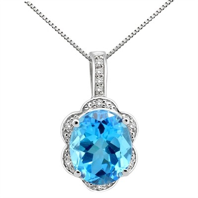 6.01Ct Oval Shaped Blue Topaz and Diamond Pendant in 10K Gold