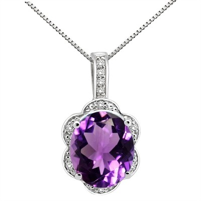 6.01Ct Oval Shaped Amethyst and Diamond Pendant in 10K Gold